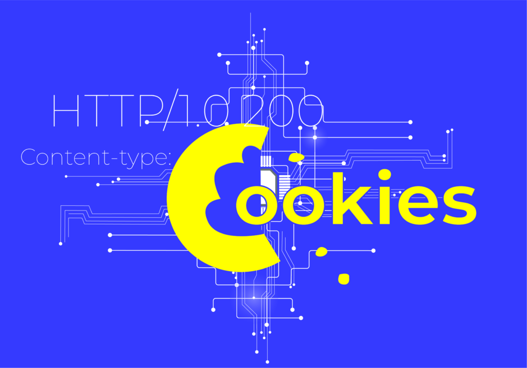 A line of code indicating a web cookie on top of an abstract art piece that looks like an illuminated switchboard.